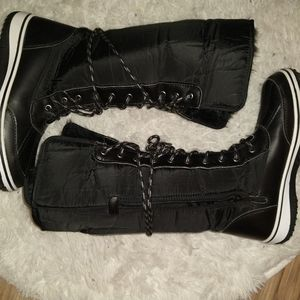 Black Winter Boots * Fur Lined Knee Hi Adjustable